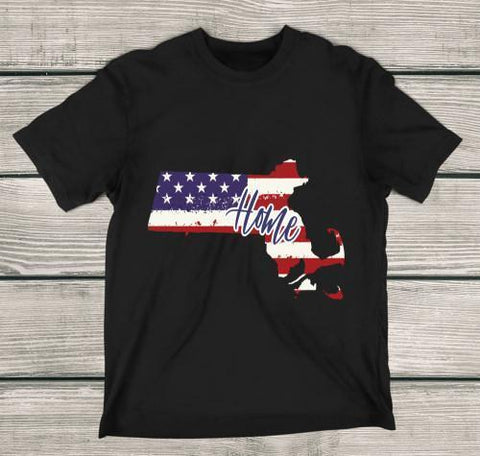Massachusetts Home Apparels Adult T-Shirt Black S