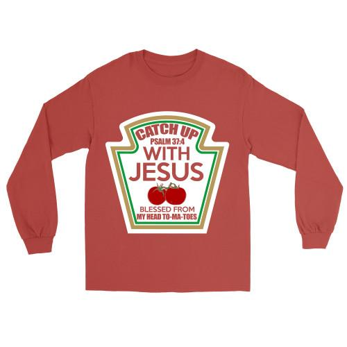 Catch Up With Jesus Apparel Long-Sleeve T-Shirt Red S