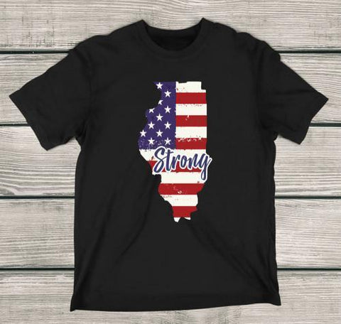 Illinois Strong Apparels Adult T-Shirt Black S