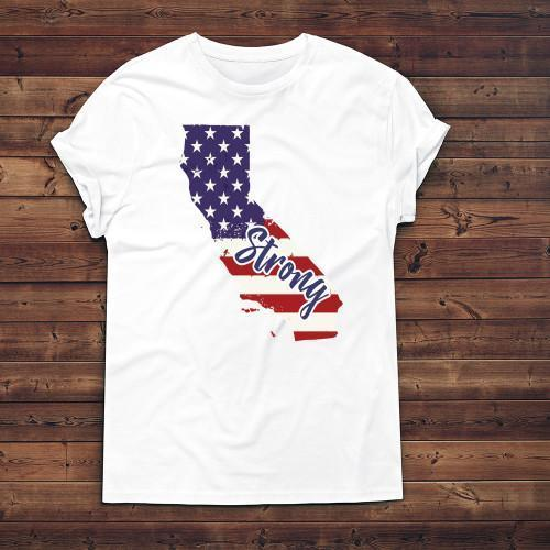 California Strong Apparels Adult T-Shirt White S