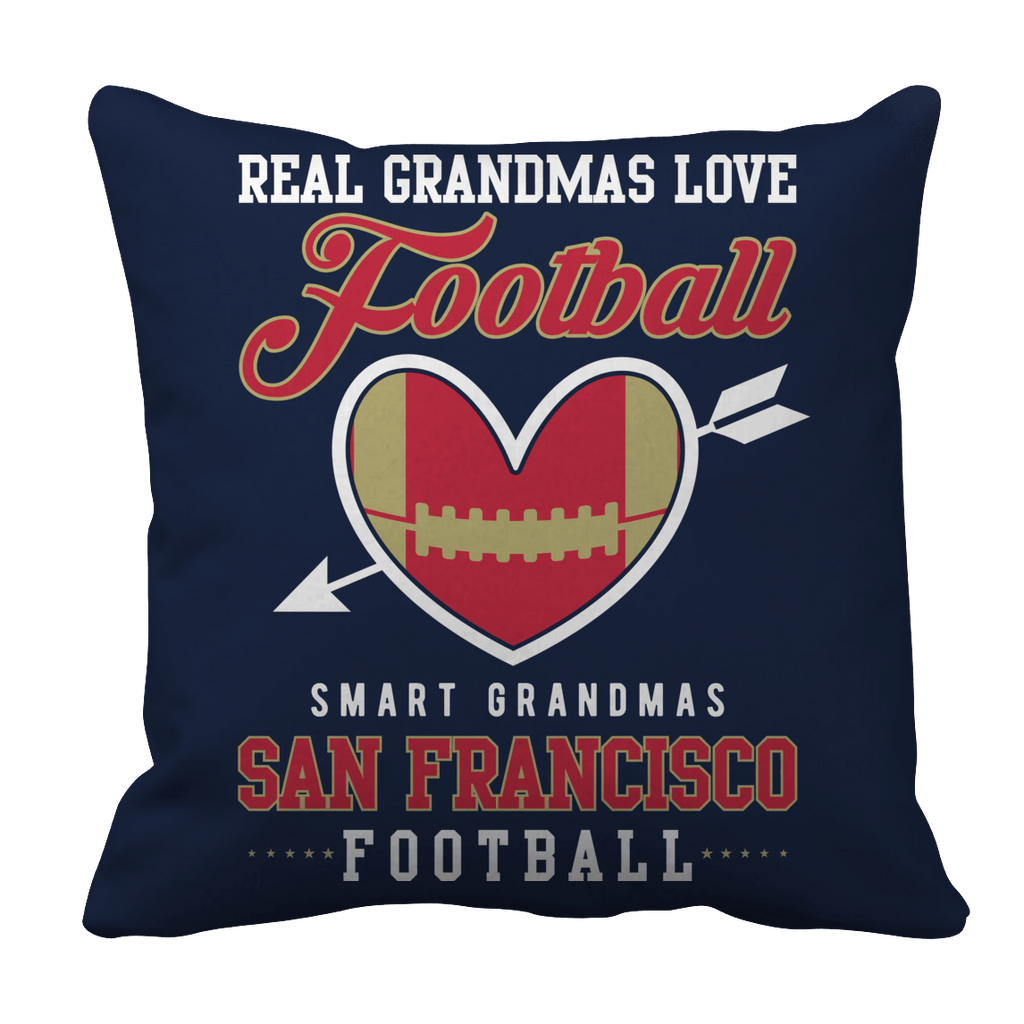Limited Edition - Real Grandmas Love Football- San Francisco Pillow Cases Pillow Cases Navy