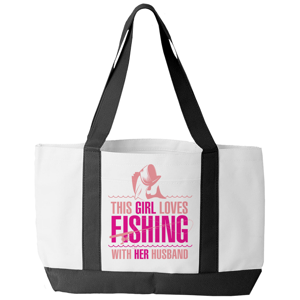 Limited Edition - This Girl Loves Fishing With Her Husband Tote Bags Tote Bags White O/S