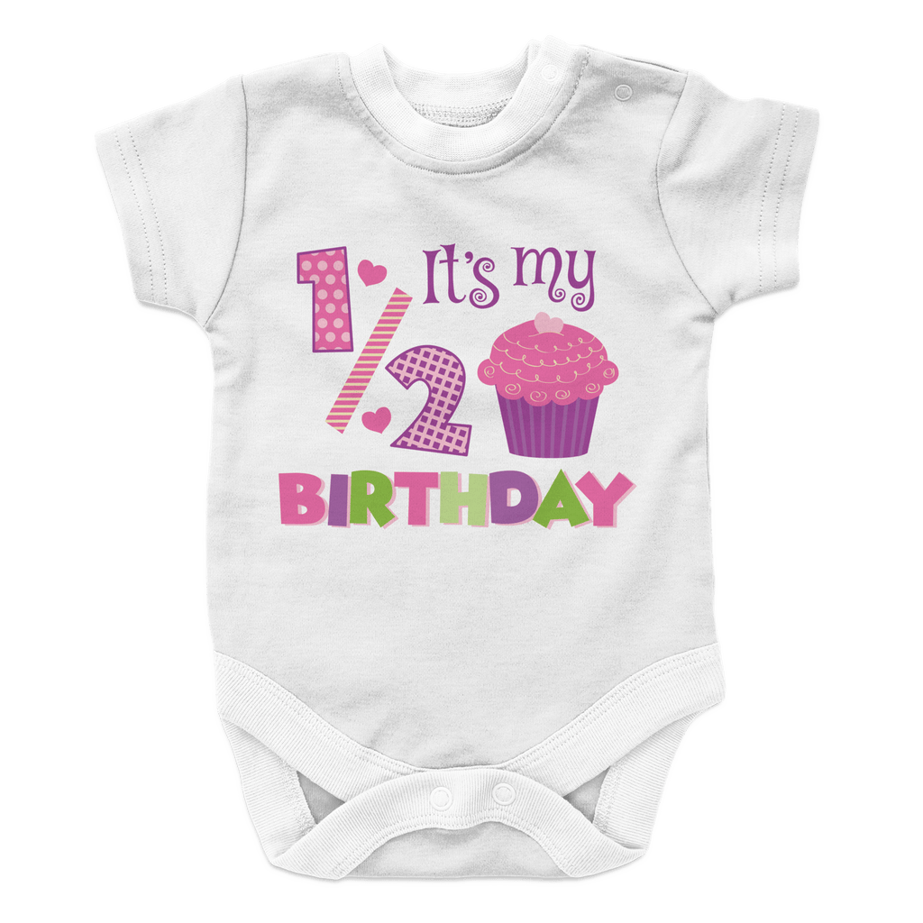 Half Birthday - Girl Onesies Onesies White 6M