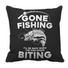 Gone Fishing Pillow Cases Pillow Cases Black