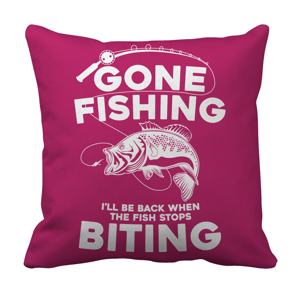 Gone Fishing Pillow Cases Pillow Cases Pink