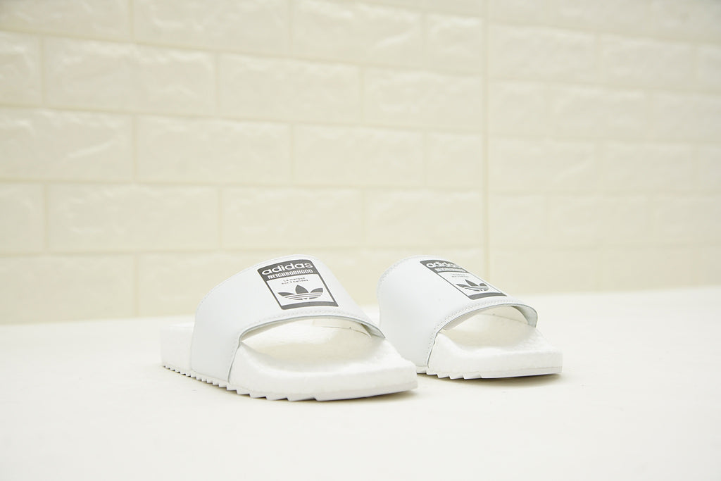 "NEIGHBORHOOD x Adidas Originals Adilette ""BOOST"" Slides 'White' (Both)"