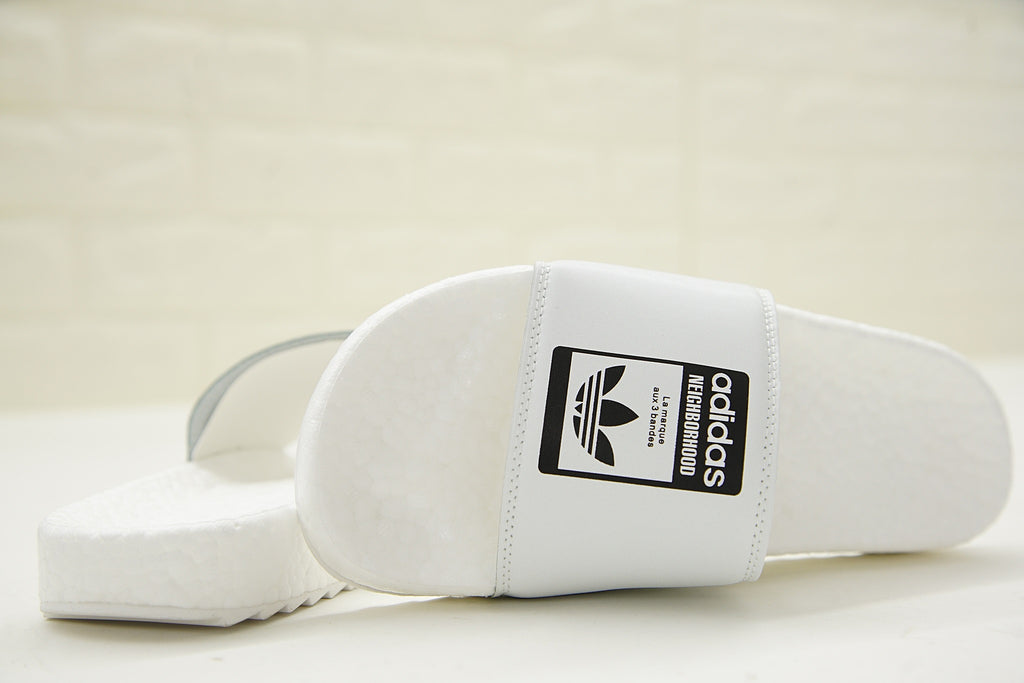 "NEIGHBORHOOD x Adidas Originals Adilette ""BOOST"" Slides 'White' (Front and Back)"