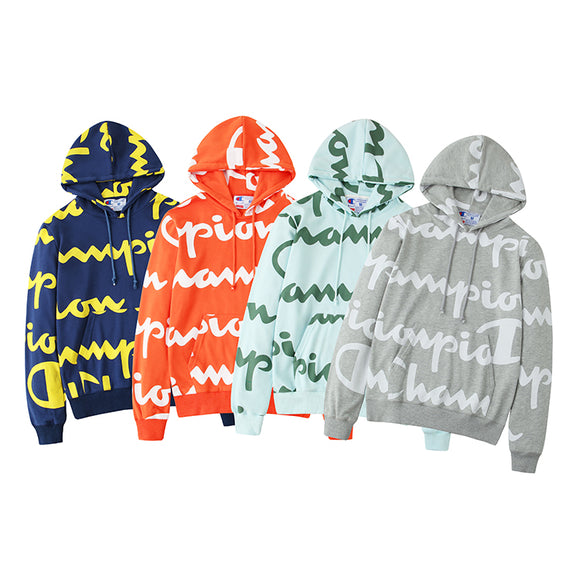 Champion Reverse Weave All-Over Giant Script Logo Hoodie #190727007
