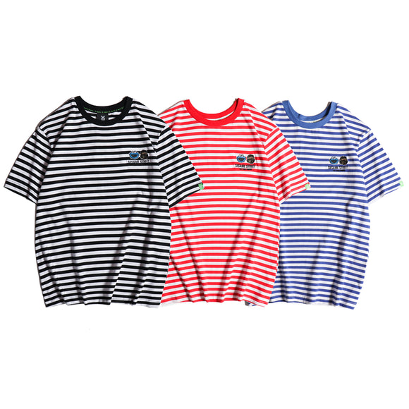 Fingercroxx x Sesame Street Striped Patch T-Shirt #190504008