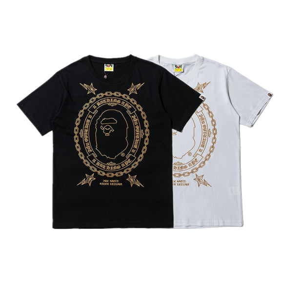 A Bathing Ape Gold Embroidery T-Shirt #190103007