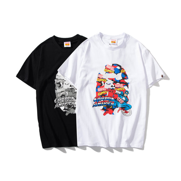 A Bathing Ape x Marvel Camo Captain America T-Shirt #190604035
