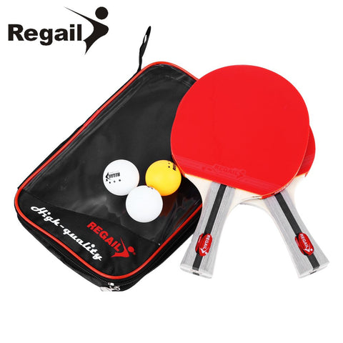 Ping Pong Racket Two Shake-hand Grip w/ Three Balls