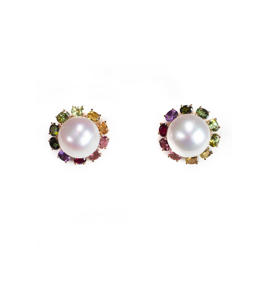 Camila Rainbow tourmaline and freshwater pearls earrings