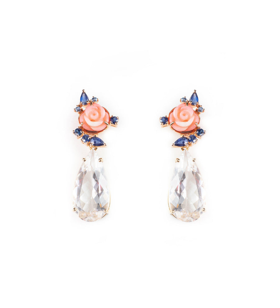 Natural Coral Blooms earrings with white topaz detachable pendants