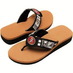 San Francisco 49ers Jeweled Wedge Flip Flops