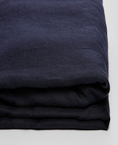 Linen Fitted Sheet in Dark Navy by IN BED