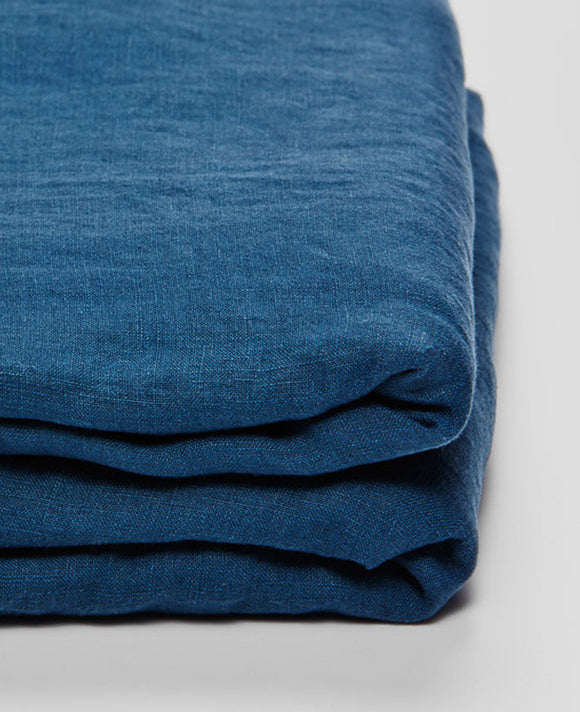 Linen Fitted Sheet in Indigo by IN BED