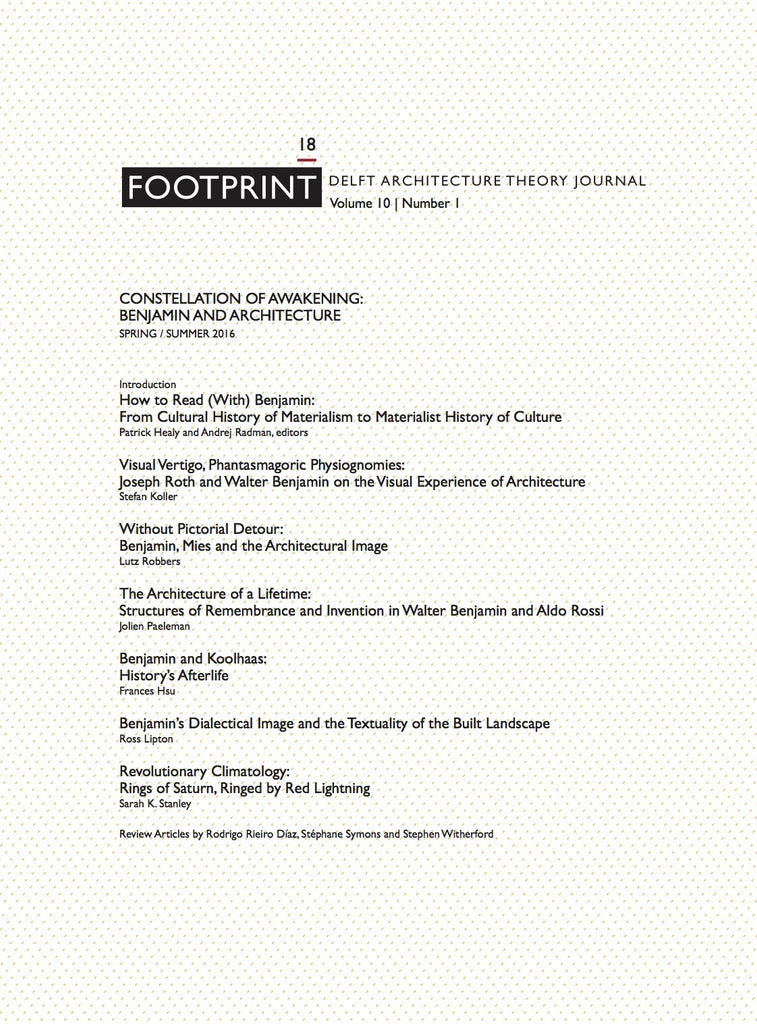 Footprint 18 Vol 10/1 Constellation of Awakening: Benjamin and Architecture