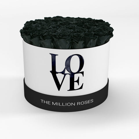 LOVE Premium White  - Black Eternity Roses - The Million Roses Europe