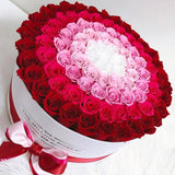 "The Million Large Luxury Box - ""Target"" Red / Hot Pink / White Eternity Roses - White Box - The Million Roses Europe"