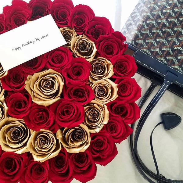 Medium - Red Eternity Roses With Gold Circles - Black Box