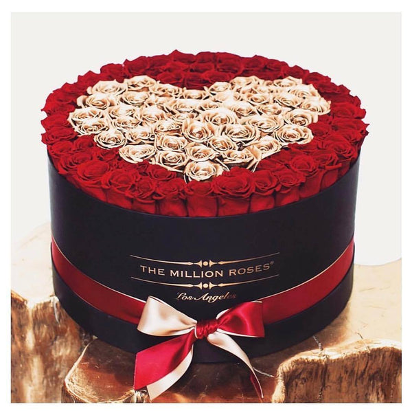 The Million Large Luxury Box - Red Eternity Roses & Golden Heart - White Box