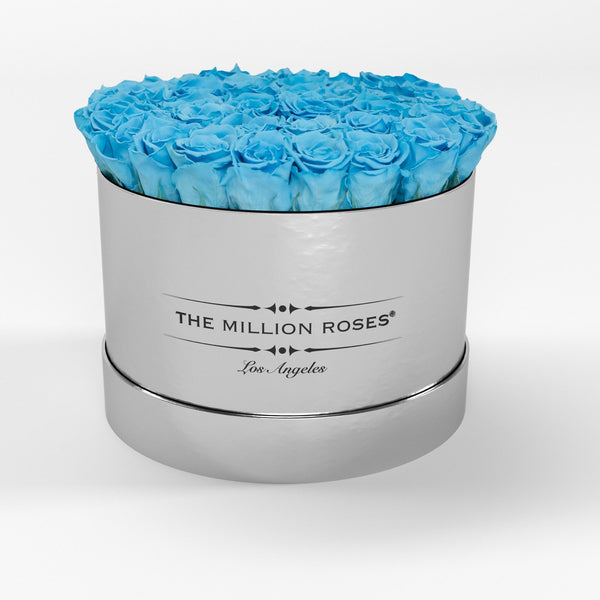 Premium - Light Blue Eternity Roses - Mirror Silver Box - The Million Roses Europe