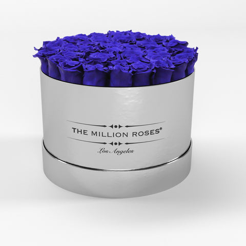 Premium - Royal Blue Eternity Roses - Mirror Silver Box - The Million Roses Europe