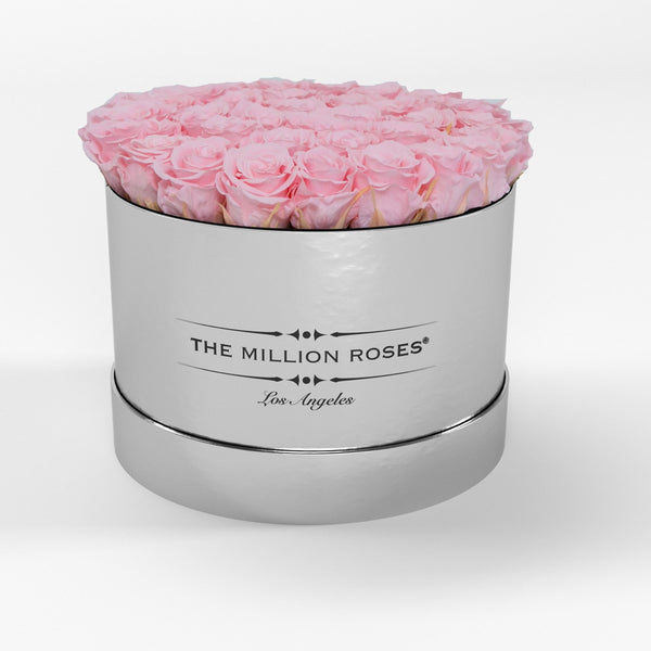 Premium - Soft Pink Eternity Roses - Mirror Silver Box - The Million Roses Europe