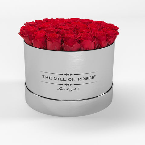 Premium - Red Eternity Roses - Mirror Silver Box - The Million Roses Europe