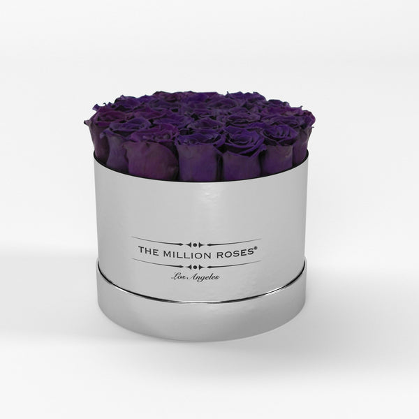 Classic - Deep Purple Eternity Roses - Mirror Silver Box - The Million Roses Europe