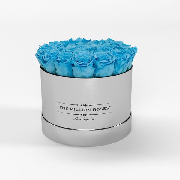 Classic - Light Blue Eternity Roses - Mirror Silver Box - The Million Roses Europe
