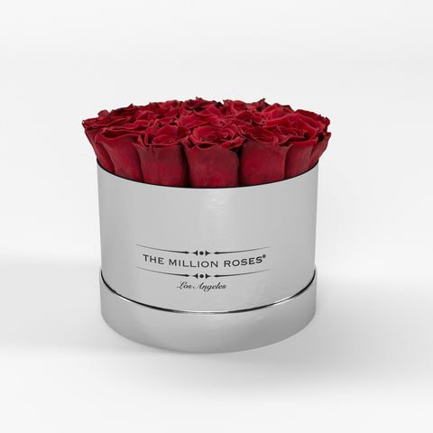 Classic - Red Eternity Roses - Mirror Silver Box - The Million Roses Europe