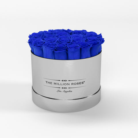 Classic - Royal Blue Eternity Roses - Mirror Silver Box - The Million Roses Europe