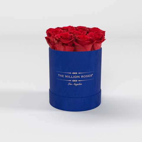The Million Basic - Royal Blue Suede Box - Red Eternity Roses - The Million Roses Europe
