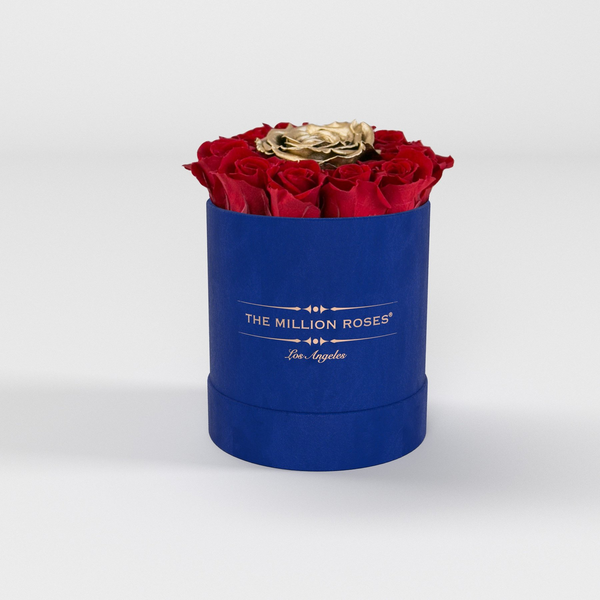 The Million Basic - Royal Blue Suede Box - Red + 1 Gold Eternity Roses - The Million Roses Europe