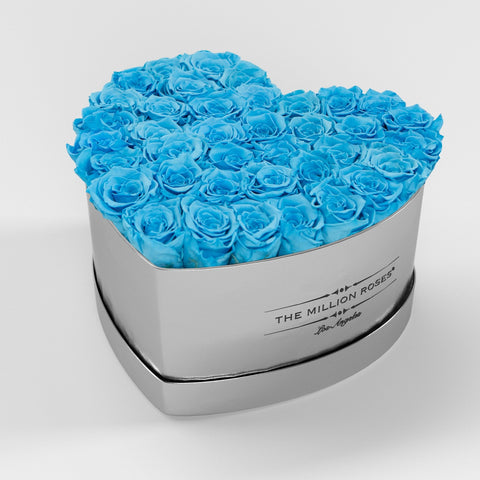 The Million Love Heart Premium - Mirror Silver Box - Light Blue Eternity Roses - The Million Roses Europe