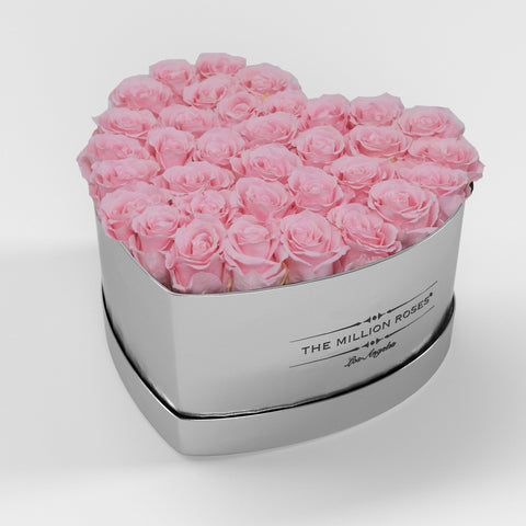 The Million Love Heart Premium - Mirror Silver Box - Soft Pink Eternity Roses - The Million Roses Europe