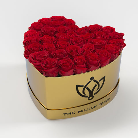 The Million Love Heart - Red Eternity Roses - Shiny Gold Box - The Million Roses Europe