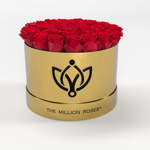Premium - Red Eternity Roses - Shiny Gold Box - The Million Roses Europe