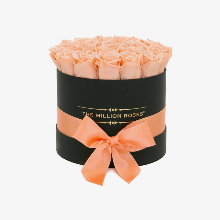 The Million Roses Europe - Small - Peach Eternity Roses - Black Box Delivered Anywhere in Europe