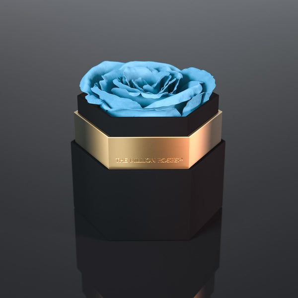 one in a million™ - hexagon black box / gold ring - The Million Roses Europe
