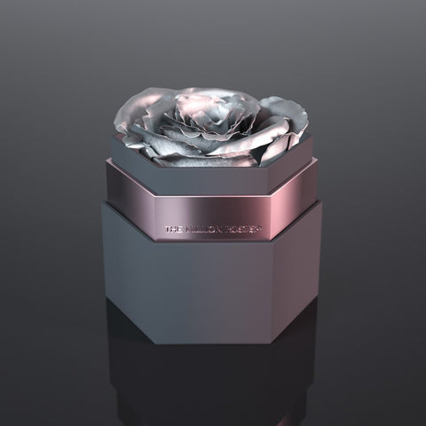 one in a million™ - hexagon gray box / nickel ring - The Million Roses Europe