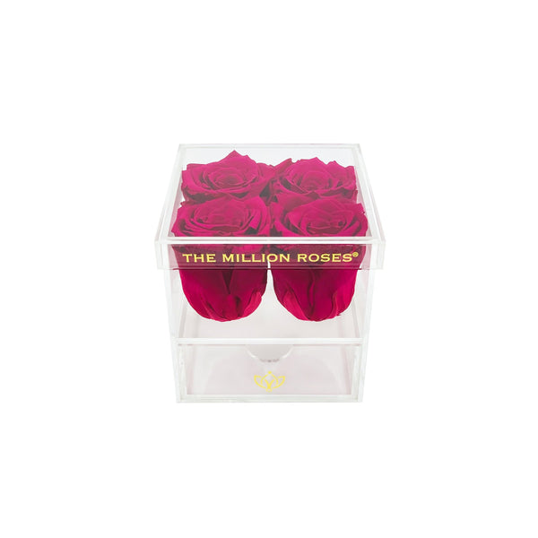 The Acrylic - Rose Box with Drawer - Hot Pink Roses - The Million Roses Europe