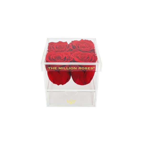 The Acrylic - Rose Box with Drawer - Royal Blue Roses - The Million Roses Europe