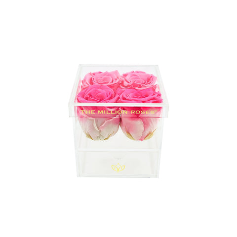 The Acrylic - Rose Box with Drawer - Candy Pink Roses - The Million Roses Europe