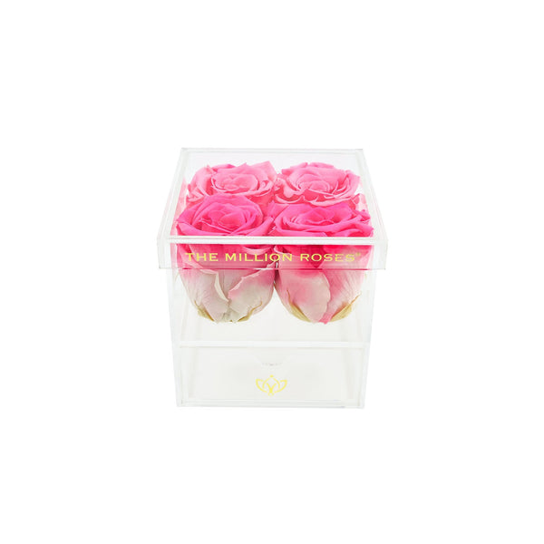 The Acrylic - Rose Box with Drawer - White Roses - The Million Roses Europe
