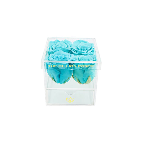 The Acrylic - Rose Box with Drawer - Tiffany Blue Roses - The Million Roses Europe
