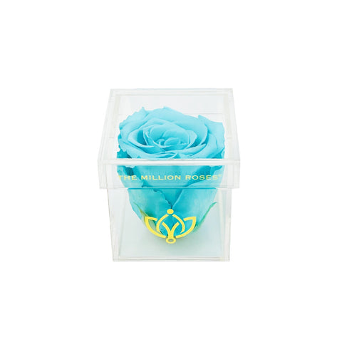 The Acrylic - Single Rose Box - Tiffany Blue Rose - The Million Roses Europe