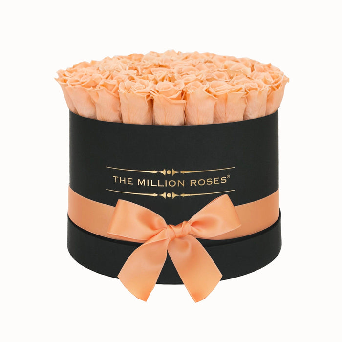 The Million Roses Europe - Medium - Peach Eternity Roses - Black Box Delivered Anywhere in Europe